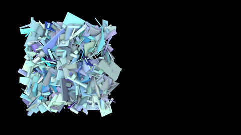 3d abstract blue spiked shape on black Animation