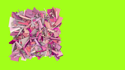 3d abstract pink red spiked shape on green Animation