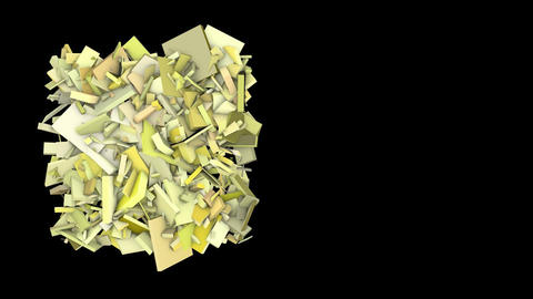 3d abstract yellow spiked shape on black Animation