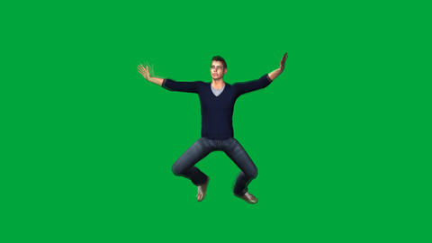 Four Characters Falling Face Up: Green Screen, Stock Animation