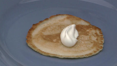 Pancake with sour cream Footage