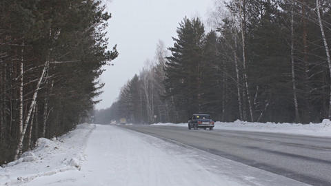Winter Road Traffic 02 Footage