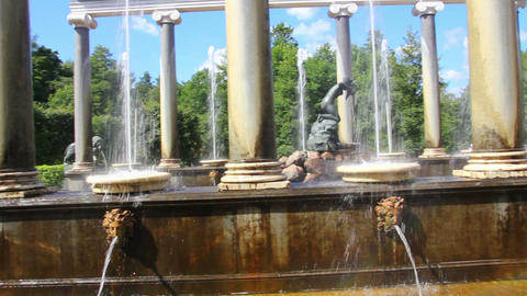 Lion cascade fountain in petergof park St. Petersb Footage