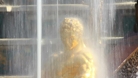 Close-up View On Famous Petergof Samson Fountain I stock footage