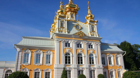Ornate Dome In Peterhof Park - Saint-petersburg Ru stock footage