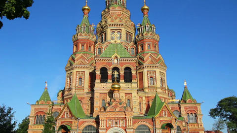 Church Of Holy Apostles Peter And Paul In Peterhof stock footage