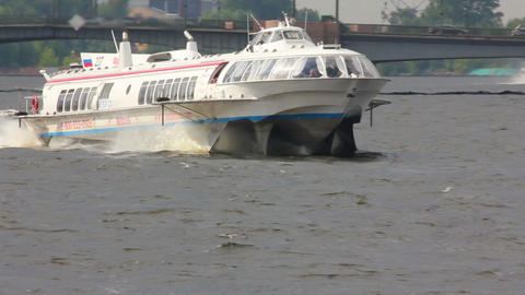 meteor - hydrofoil boat on Neva river in St. Peter Live Action