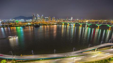 Seoul City 254 Highway Bridge Traffic Footage