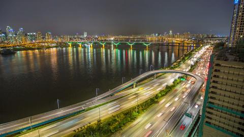 Seoul City 255 Highway Bridge Traffic Footage