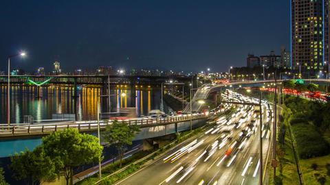 Seoul City 256 Highway Bridge Traffic Footage