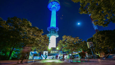 Seoul City 260 Seoul Tower at Night Footage