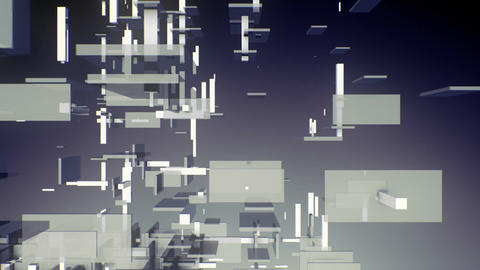 3D rectangles and boxes floating in space Animation