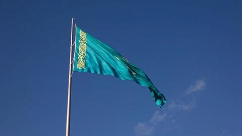 Blue flag - blue sky Stock Video Footage