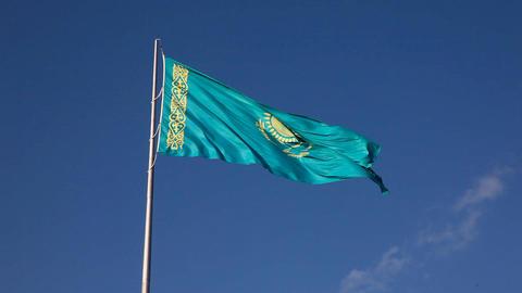 Blue flag - blue sky Footage