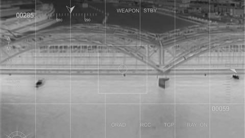 infrared Helicopter hit by Missile Stock Video Footage