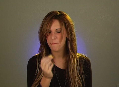 Beautiful Blonde Eating Crackers (4) Stock Video Footage