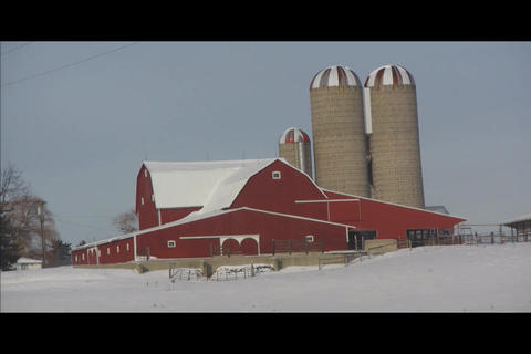 Barn on hill Footage