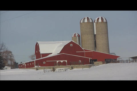 Barn on hill Stock Video Footage