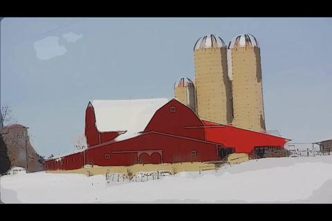 Red barn painted effect Stock Video Footage