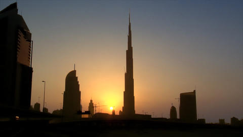 Dubai sundown skyline Burj Khalifa Dubai Footage