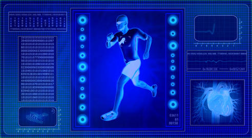 Checking human abilities - x-ray view. Health jogging Stock Video Footage
