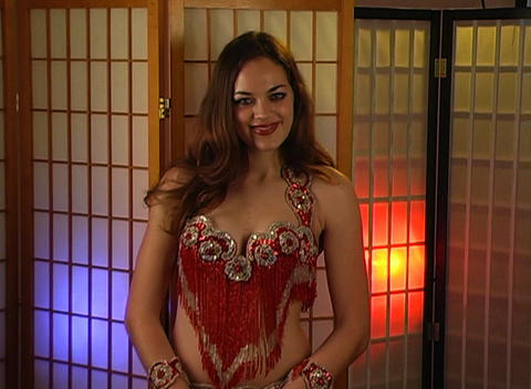 Beautiful Exotic Belly Dancer with Heart Graphic (1) Stock Video Footage