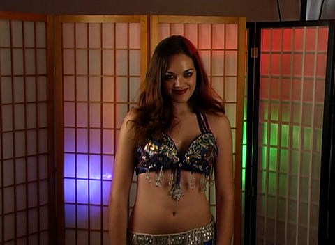 Beautiful Exotic Belly Dancer with Ring of Hearts (2) Stock Video Footage