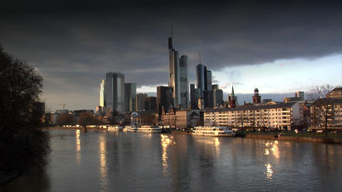 dark clouds over Frankfurt Germany Skyline Footage