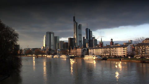 dark clouds over Frankfurt Germany Skyline Stock Video Footage