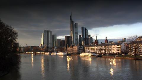dark clouds over Frankfurt Germany Skyline Stock Video Footage