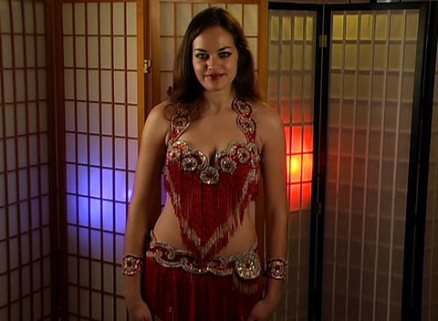 Beautiful Exotic Belly Dancer with Ring of Hearts (1) Stock Video Footage
