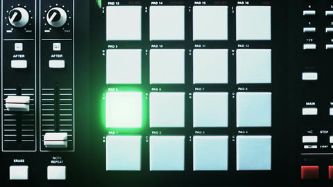Beat machine light streaks and lit drum pads Animation