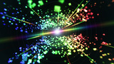Rainbow cubes and lasers in space Stock Video Footage