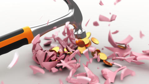 4k hammer breaks a piggy bank Animation