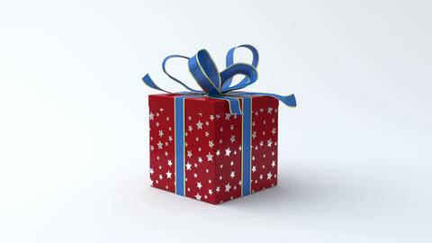 Red - silver star gift box with blue ribbon openin Animation