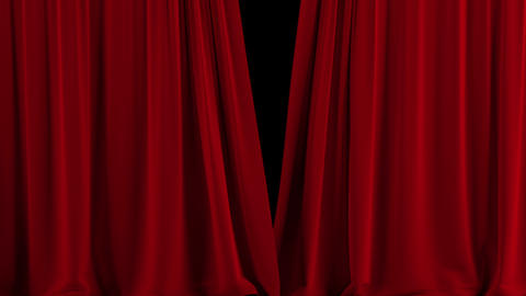 Red Theater Curtain Open stock footage