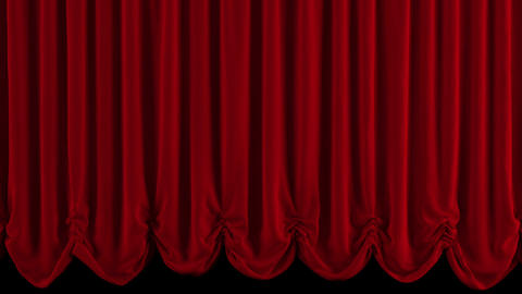 Theater Red curtain opens Animation