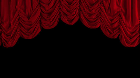 Red Austrian curtain opens. With alpha channel Animation