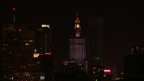 Warsaw night long shot with corection Footage