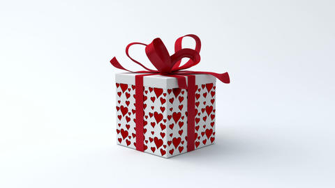 White gift box with red hearts opening Stock Video Footage