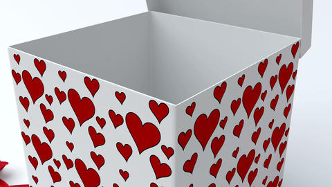 White gift box with red hearts opening CG動画素材