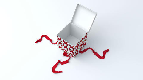 White gift box with red hearts opening 애니메이션
