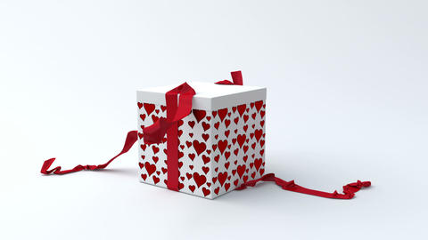 White gift box with red hearts opening Animación