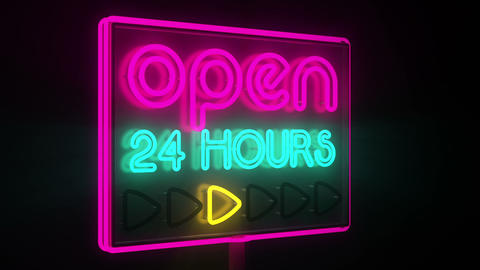 Blinking casino neon sign.24h casino Animation