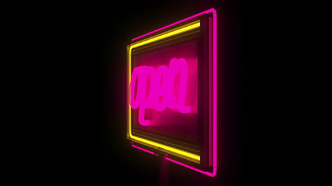 Open Sign. NEON stock footage