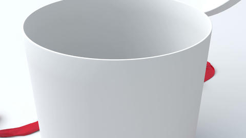 White gift in the shape of a cylinder with red rib Animation