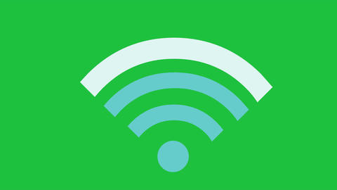 WiFi Signal Animated on Green Screen: Looping Animation