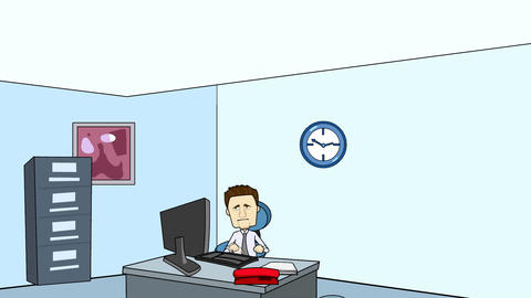 Man In Office Typing (Cartoon + Looping) stock footage