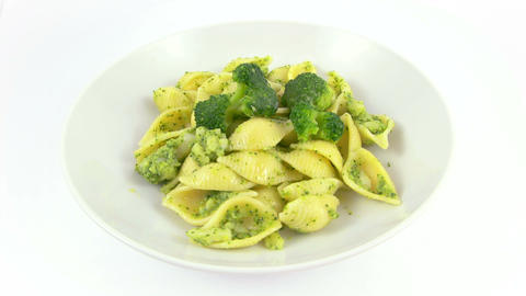 Dish Pasta Shell Broccoli stock footage