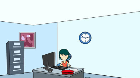 Female Office Worker Typing: Looping Animation